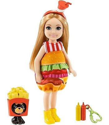 Boneca Barbie Chelsea Loira Fantasia Hambúrguer Com Pet Fofa
