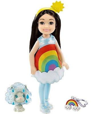 Boneca Barbie Chelsea Morena Fantasia Arco-íris Magico C Pet
