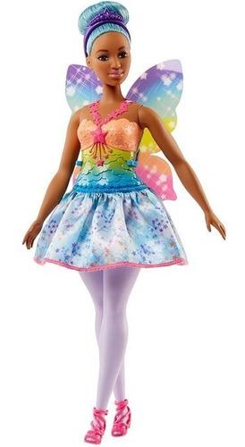 Boneca Barbie Com Assas Fada Dreamtopia Morena Cabelo Azul