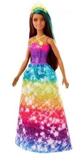 Boneca Barbie -dreamtopia - Princesa Morena Com Mechas Azul