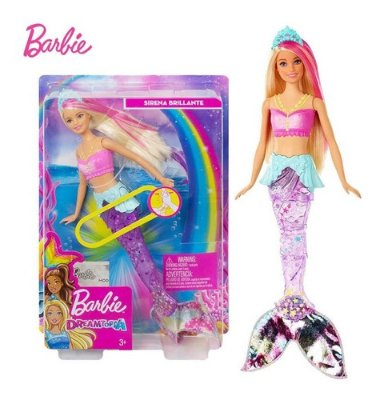 Boneca Barbie Dreamtopia Sereia Luzes Arco-íris Calda Sereia