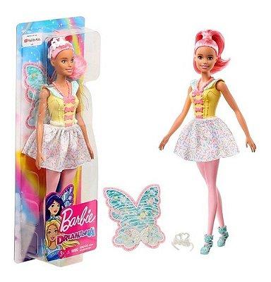 Boneca Barbie Fadas Com Asas Cabelo Rosa Dreamtopia Morena