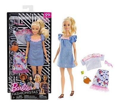 Boneca Barbie Fashionistas 99 Roupas E Acessorios Loira