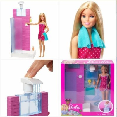 Boneca Barbie Loira Banheiro - Sair Agua Do Chuveiro