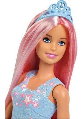 Boneca Barbie Penteados Mágicos Dreamtopia Cabelo Rosa