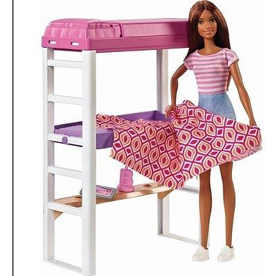 Boneca Barbie Playset Móveis Quarto E Acessórios Morena