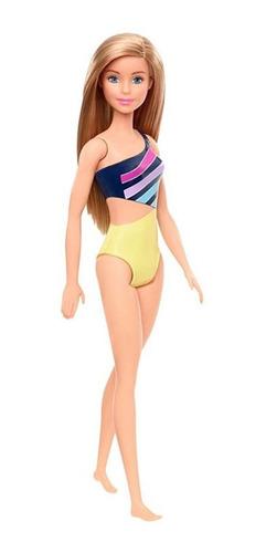Boneca Barbie Praia Loira Cabelo Longo Maiô Amarelo E Azul