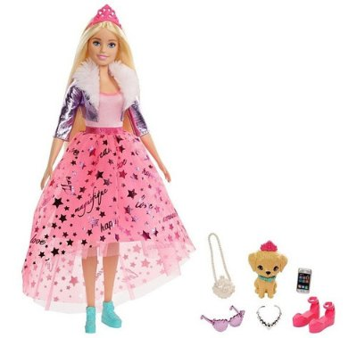 Boneca Barbie Princessa Aventureira Loira Estilosa Com Pet