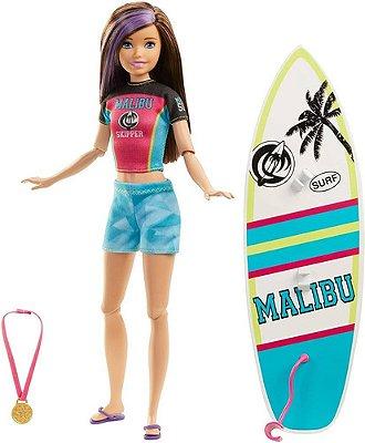 Boneca Barbie Surfista Dreamhouse Skipper Morena Com Mecha
