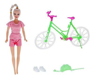 Boneca Joyce Ciclista - Bike Com Acessorios - Loira