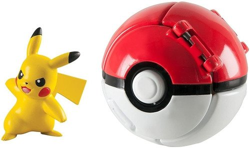 Boneco Açao Pokemon Pokebola Pikachu Serve Pra Cinto Pokemon