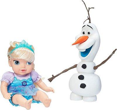 Kit Boneca Baby Elsa E Olaf Em Vinil Frozen - Lindos E Fofos