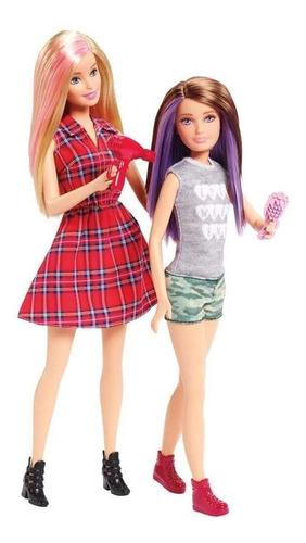 Kit Boneca Barbie E Skipper Irmãs Cabelos Coloridos C Secado