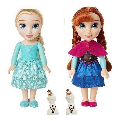 Kit Boneca Frozen Elsa E Anna Com Mini Olaf 30 Cm Mimo