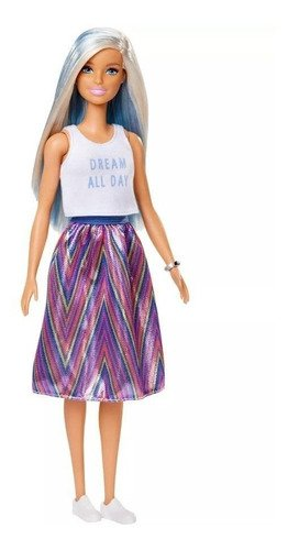 Barbie Fashionistas T-shirt Sonho Todo Dia Cabelo Azul