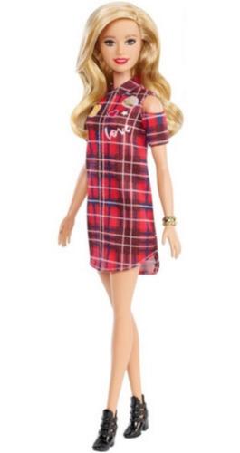 Boneca Barbie Fashionistas Loira Cabelo Longo Vestido Xadrez