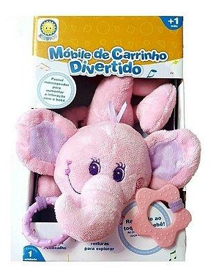 Mobile De Carrinho Bebe Musical Feminino - Rosa Elefantinho