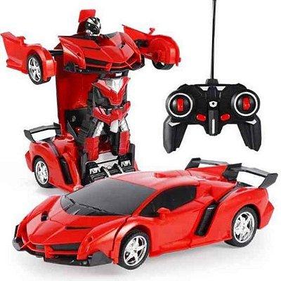Carrinho De Controle Remoto Ferrari Que Vira Robô Transforme - Vermelho