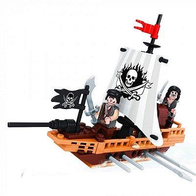 Blocos De Montar Navio De Batalha - Piratas E Caveira 100pç