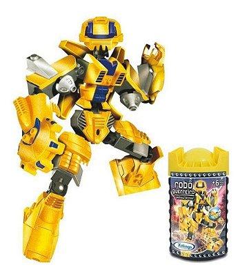 Blocos De Montar Robô Guerreiro Amarelo Armor 57 Peças