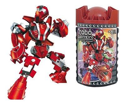 Blocos De Montar Robô Guerreiro Red Armor 59 Peças Xalingo