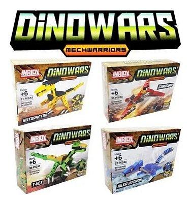 Kit 4 Blocos De Montar Dinossauro Robô Dinowars 134 Peças