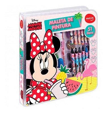 Maleta De Pintura Minnie Disney Canetinha Escolar 51 Itens