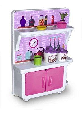 Casinha cozinha Armarinho Super Girl Lua De Cristal Rosa