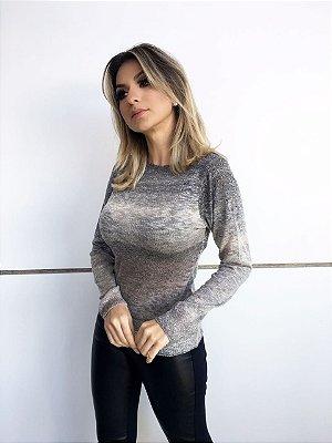 BLUSA FEMININA FINA DECOTE CANOA DEGRADÊ
