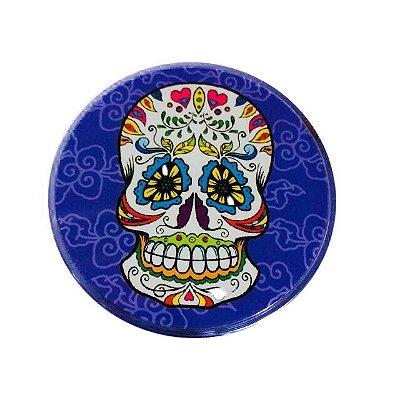 Triturador de Metal Azul Escuro Caveira Mexicana
