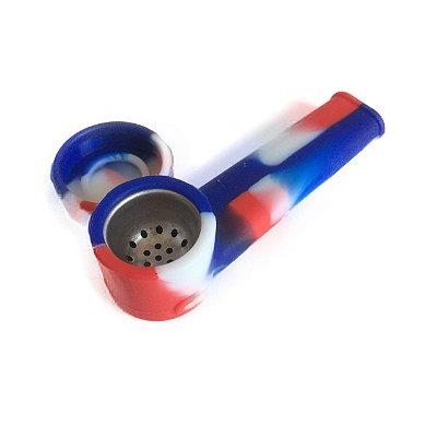 Pipe de Silicone Vermelho, Branco e Azul