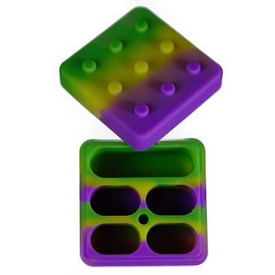 Pote de Silicone com 5 Divisórias Rosa, Verde e Amarelo