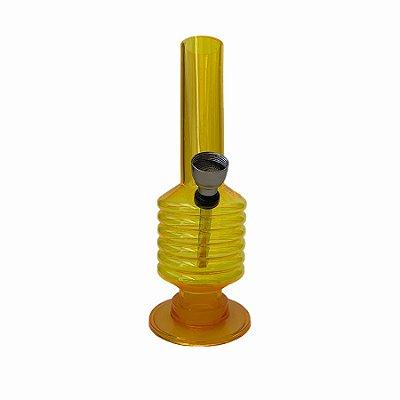 Bong Acrílico 15cm Amarelo Espiral