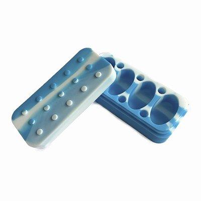 Pote de Silicone 4 Lugares Lego Branco e Azul