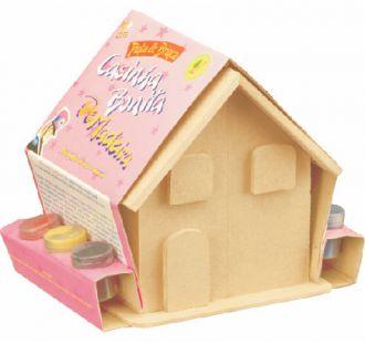 Casinha de Bonecas para Pintar (com Móveis e Adesivos)