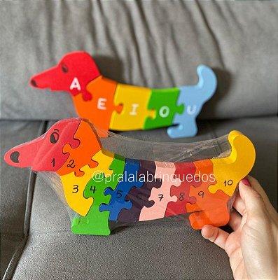 Quebra-Cabeça Cachorro com Números de 1 a 10