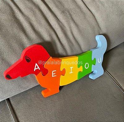 Quebra-Cabeça Cachorro com Vogais e Números de 1 a 5