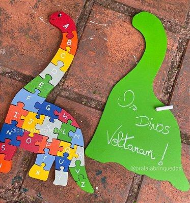 Quebra-Cabeça Dinosssauro com Alfabeto e Números
