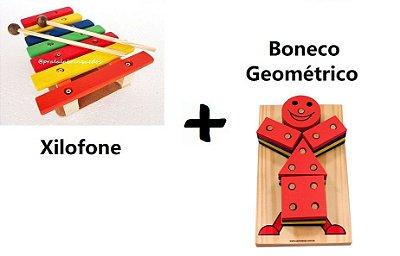 Kit Boneco Geométrico + Xilofone