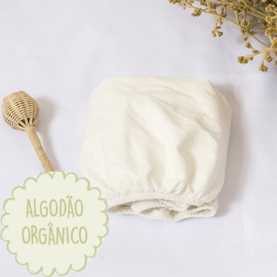 Lençol elástico moises algodão orgânico off white