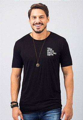 Camiseta Gola Tradicional Preta Eyes