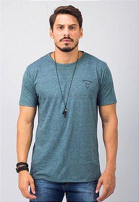 Camiseta Gola Tradicional Azul Busted Triangle