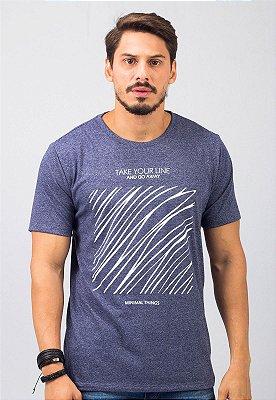 Camiseta Gola Tradicional Azul Marinho Square Lines