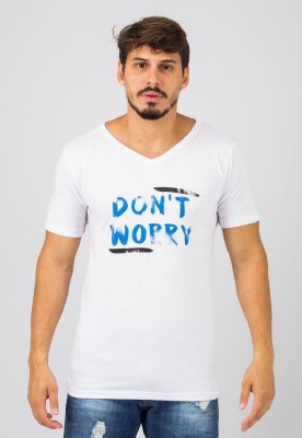 Camiseta Gola V Branca Don't Worry