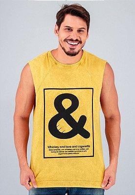 Camiseta Regata Machão Amarela Marmorizada Whiskey And Love