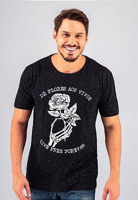 Camiseta Gola Tradicional Botonê Black Dê Flores aos Vivos