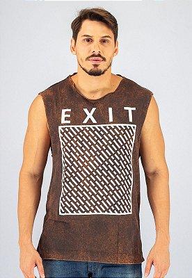 Camiseta Regata Machão Marrom Marmorizada Exit