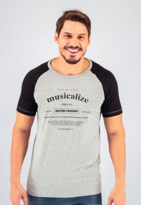 Camiseta Gola Tradicional Raglan Mescla Musicalize