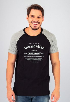 Camiseta Gola Tradicional Raglan Preta Musicalize