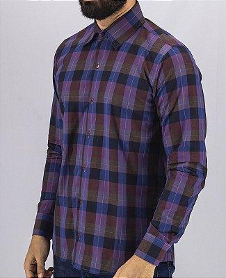 Camisa de Botão Xadrez Roxa